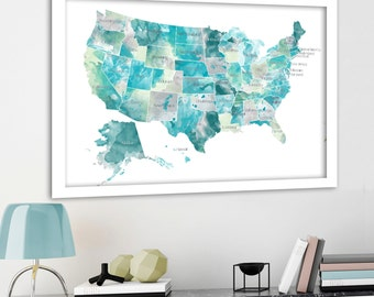 Usa Map With States Aqua Mint Gray State Names On Usa Map