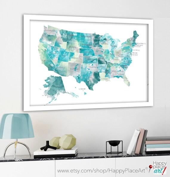 USA Map With States Aqua Mint Gray State Names On USA - Aqua map us