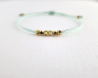 Gold Nugget Friendship Bracelet With Sea Foam Waxed Poly Cord