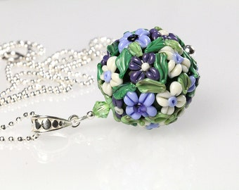 Sterling silver lampwork pendant,  floral ball, sra