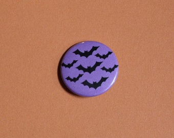 Black Bats on Purple - Halloween Pinback Button Pin OR Magnet