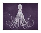 The Giant Purple Octopus Print, Octopus Wall Art, Kraken, Poster, Nautical Decor, Nautical Wall Art, Giant Kraken, Coastal Decor, Beach Art