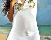 Mermaid High-Low Tshirt Dress / White with Gold Foil Seashells / Tunic / Original Artwork / Mermaid Top / Beach / Women's Gift / Gift Idea
