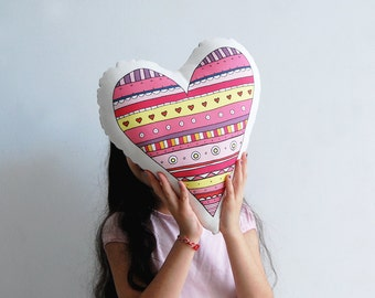 stuffed toy, Heart pillow, children cushion, pink stuffed toy, decorative cotton pillow, love present, Children room, deco, girl birthday