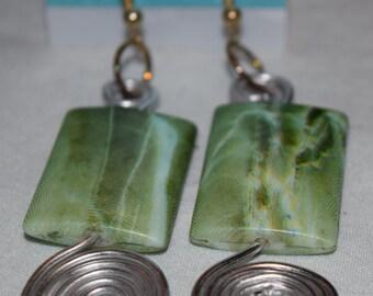 Handmade - Green with wire spirals