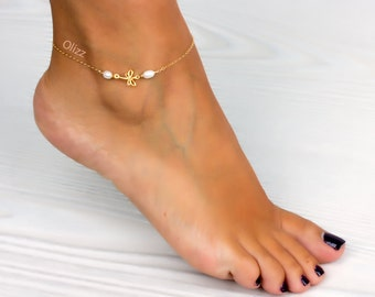 Dragonfly anklet / Freshwater pearl / Gold filled anklet / Nature jewelry / Pearl ankle bracelet / Foot jewelry / Wedding /  | 0038AM