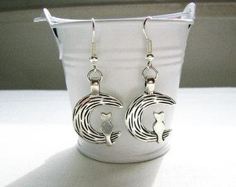 Silver metal cat on moon charm earrings - moon jewelry - cat on moon charms - zinc alloy moon earrings - moon/cat - astronomy - star gazing
