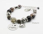 Coffee Lover Brown Bracelet, Coffee bracelet, Coffee Jewelry / Pulsera de los amantes del café, pulsera de café, joyería de café