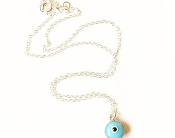 Micro Evil Eye Silver Charm Necklace //gifts for her //layering necklace //Silver pendant //Evil eye pendant //Gold pendant //Evil eye