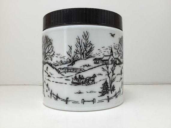 Vintage Maxwell House Coffee Canister Milk Glass Jar Black