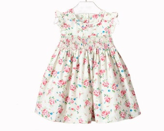 Pink Smocked Dress, Girls Country Dress, Girls Spring Clothes, Garden Party  Dresses,