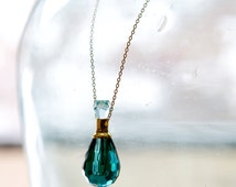 Gorgeous Crystal Perfume Essential Oil Pendant Necklaces, Turquoise, Black, Gray, Champagne, with Gift Bag, Funnel for Filling, Instructions