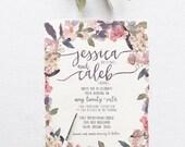 Romantic Garden Wedding Invitation Suite DEPOSIT - DIY, Rustic, Chic, Watercolor, Calligraphy, Invite Kit, Printable (Wedding Design #75)