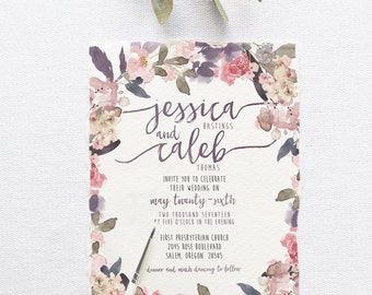 Romantic Garden Wedding Invitation Suite DEPOSIT - DIY, Rustic, Chic, Watercolor, Calligraphy, Invite Kit, Printable (Wedding Design #75)