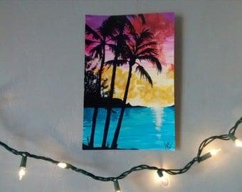 Hand painted beach palm tree silhouette sunset art 9x6