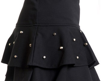 Black cotton ruffles skirt with silver studs punk rock girlie woman female girl - Handmade in Italy Limited Edition