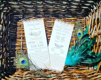 DIY Peacock Wedding Programs PDF-  Paper Fan - Wedding Programs - Peacock Wedding Fans - Digital Download Program- Peacock Programs