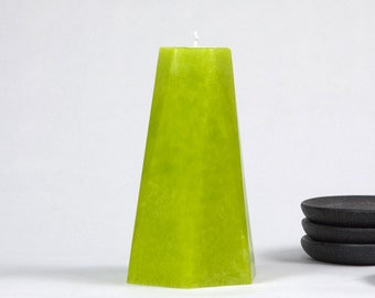 "Greenery Pillar Candle - 6"" Tall - Geometric - Hexagon - Scandinavian Decor - Color of 2017 - Lime Green Candle"