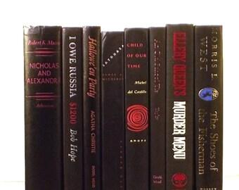 Black vintage decorative books, decorative books, book set, book collection, instant colorful library, library decor