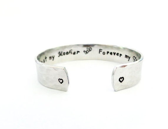 Mothers Gift, Mother/Daughter Gift, Secret Message Cuff Bracelet, First My Mother, Forever My Friend, Hammered Texured, Customizable