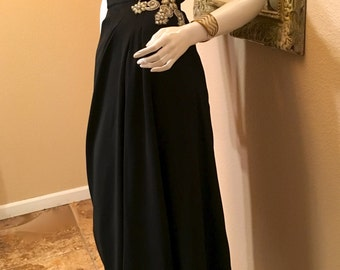 Vintage 1960s Black Beaded Evening Gown. Old Hollywood One Shoulder 30s Long Grecian Dress. Marilyn Pinup Bombshell Formal Wedding MOB. S M