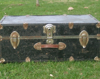 Vintage Black Trunk, Trunk Coffee Table, Steamer Trunk, Metal Trunk, Storage Trunk, Trunk with Handles, Foot Locker, College Dorm Storage