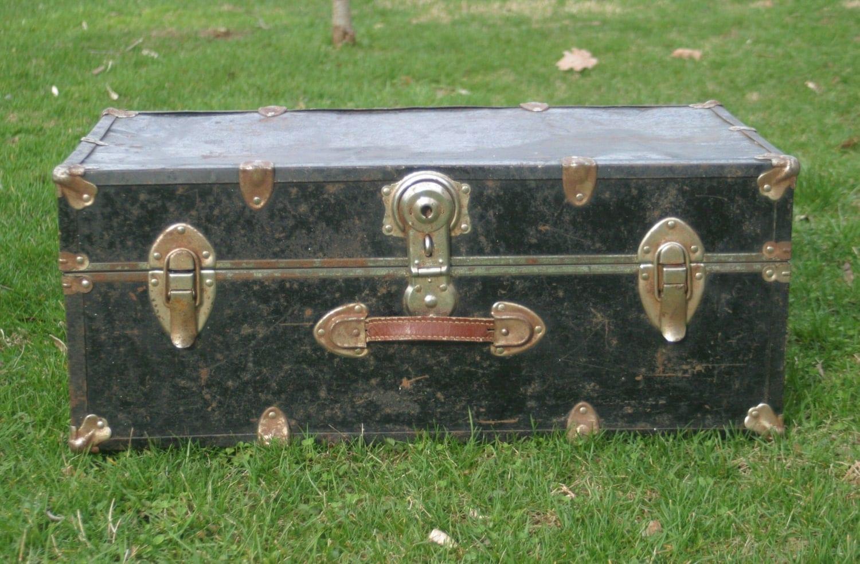 Vintage Black Trunk Coffee Table Steamer Trunk Rustic Metal
