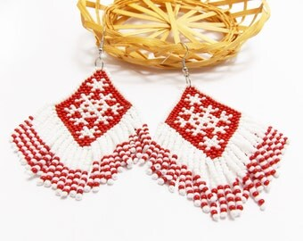Gift/for/mom sister gifts cute gifts christmas earrings snowflake jewelry xmas jewelry red white jewelry Christmas holiday dangle earrings