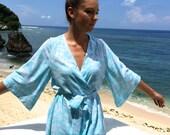 Bridesmaid Robe, Short Kimono Robe UN-LINED - Fleur De Lys Pastel BLUE