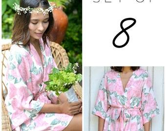SET OF 8 - 25% Disc - Kimono Robe - Bridesmaid Robe - Mary Rose PINK