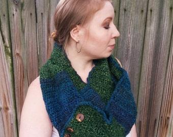 Oversized Scarf - Blue Infinity Scarf - Crochet Convertible Scarf - Green Infinity Scarf - Chunky Oversized Infinity Scarf - Button Scarf