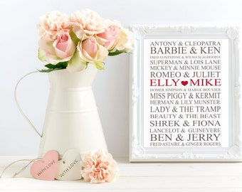 Famous Couples Names. Personalised Print. Anniversary Gift. Wedding Gift. Valentines Gift. Romeo & Juliet. Custom Names.