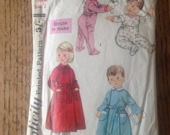 Vintage 1970's Simplicity Children's Sewing Pattern Size Toddler age 2