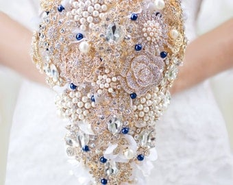 Custom Cascading Gold Navy Brooch Bouquet, Teardrop Bridal Bouquet , Rhinestone Crytal Wedding Bouquet, Silk Flower Broach Bouquet - 9 inch