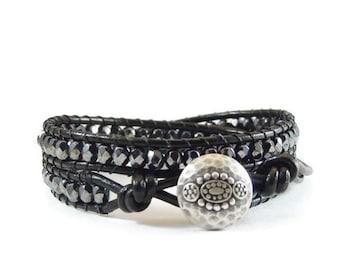 Leather Wrap Bracelet Black Beaded Jewelry