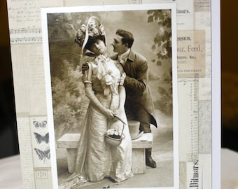 """vintage photo greeting card, whimsical, humorous, man wooing a woman, """"Sweet Mignonette is undoubtably the most popular"""""""