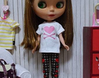 blythe clothes,Pants black check red hearts