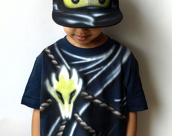 Black NINJA Costume |Ninjago COLE T-shirt and Snapback Hat Cap |Ninjago birthday party gift for boys and girls |Kids Halloween |Carnival