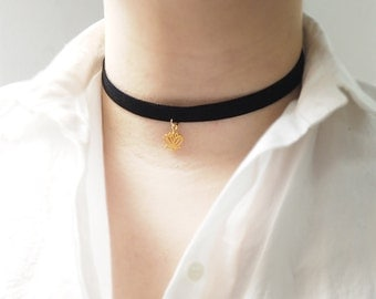 Black Choker, Lotus flower choker, Black Velvet Choker, Basic Velvet Choker,Simple Choker,choker necklace