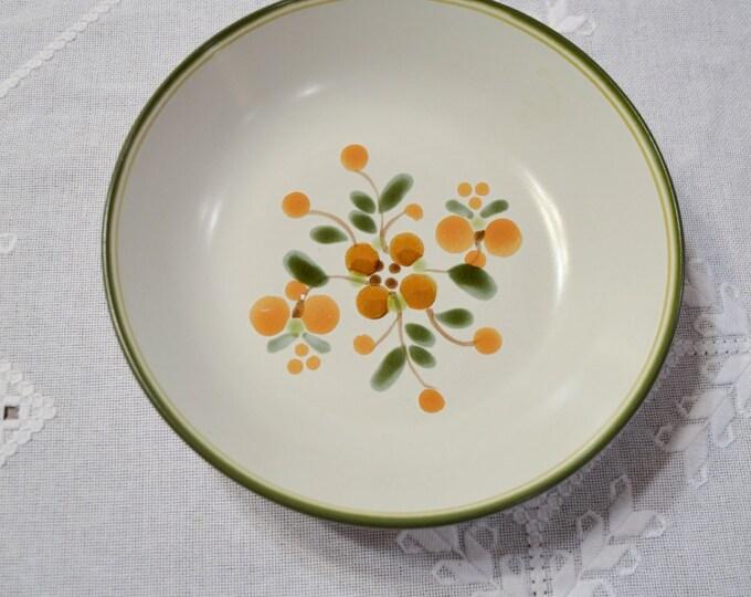 Vintage Noritake Bliss Vegetable Bowl Stoneware 8574 Green Orange Design Japan PanchosPorch