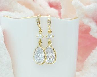 Gold CZ Teardrop Earrings, Cubic Zirconia Bride, Crystal Jewelry, Bridal Earrings, Teardrop Bridesmaid, Wedding Earrings, Gold Earring E2401