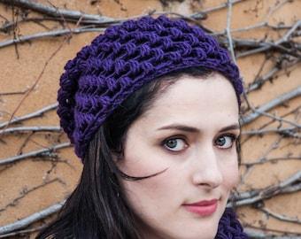 Wool Purple Beanie - Crocheted Woman's Hat - Purple Beanie Wool - Women Purple Hat - Purple Winter Hat - Wool Beanie Hat