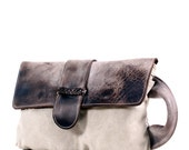 Large canvas and leather clutch - brown canvas clutch bag - carry all pouch,  document clutch, ,Handmade  Clutch