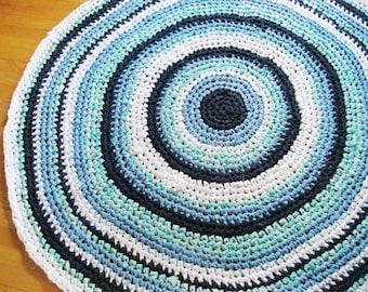 Small Boy Nursery Rug | Shabby Chic Rag Rug | Braided Rag Rug | Kids Rugs | Kids Room Decor