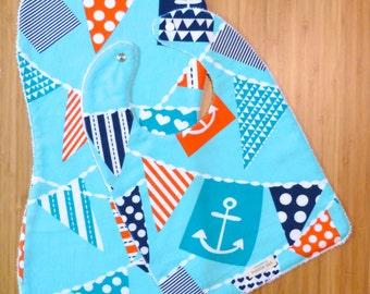 Baby bib & burp cloth set, bib nautical, bib set nautical, anchor print baby bib, gender neutral gift, bib and burp cloth nautical, bib set