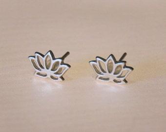 Lotus Flower Ear Studs in Silver or Brass