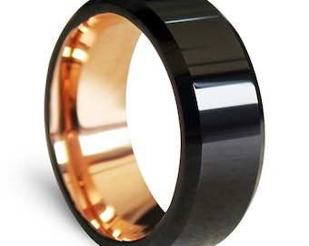 Ring AND Personalized High-Gloss Ring Box -- Tungsten Carbide Wedding Band Ring, Black High-Polish Finish With Rose Gold Inside; Men, Women