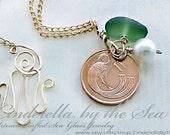Sea Glass Jewelry, Irish Coin Jewelry. Genuine Irish Sea Glass & Authentic Irish Coin Handmade Necklace Sterling  or 14 kt G.F. Coin Jewelry