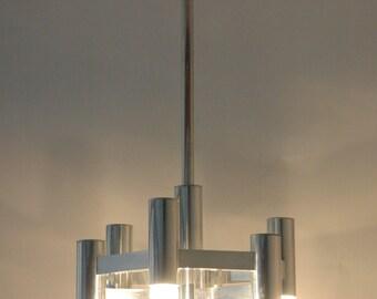 Gaetano Sciolari chandelier, aluminium honeycomb ,7 bulb positions