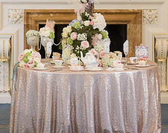Champagne Blush Sequin Table Linen | Sequin Table Runners | Gold Sequin Tablecloths | Champagne Sequin Tablecloths | Sequin Samples